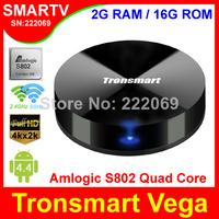 Tronsmart Vega S89 Android TV Box with Amlogic S802 Quad Core 2Ghz CPU 2G/8G Memory 2.4G/5GHz Dual Band WiFi Mali450 GPU 4K