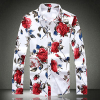 Man Casual Shirt Long Sleeve Mens Dress Flower Shirts 100% Cotton Autumn New Fashion Plus Size M L XL XXL XXXL XXXXL 5XL A0070
