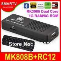 MK808B + RC12 Bluetooth Android TV Box Dual Core RK3066 1.6Ghz 1G/8G Mini PC Smart TV Stick Media Player Miracast XBMC MK808