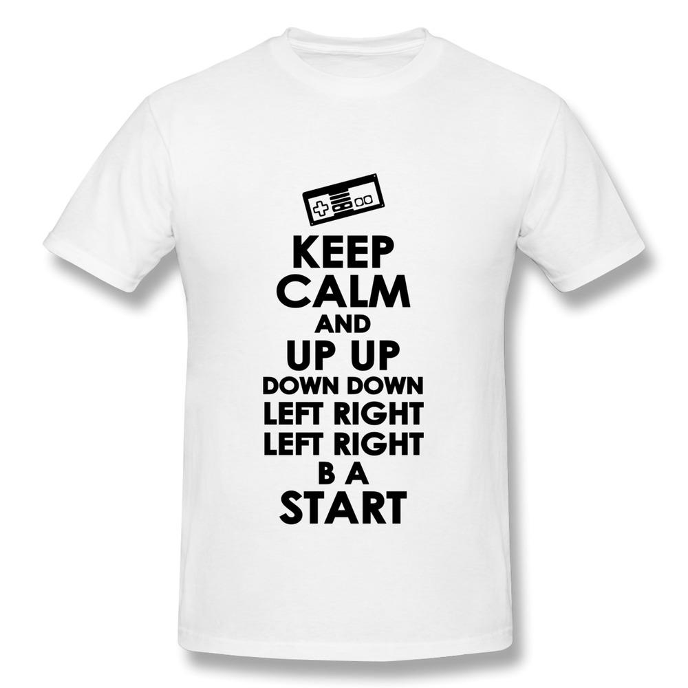 Good Quality Round Neck T Shirt Men Keep Calm and Konami Code Printing Cool Photos TShirts Men(Ch