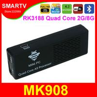 MK908 Android TV Box Quad Core RK3188 1.8Ghz 2G/8G Mini PC Smart TV Sticks Media Player Miracast Bluetooth XBMC MK808 Chromecast