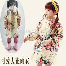 Free shipping South Korea lovely big flower child adult fashion girls raincoat raincoat children raincoat poncho raincoat baby (China (Mainland))