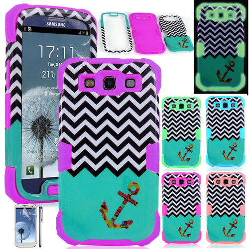 Chevron Anchor Gloss Hard + Soft Noctilucent Silicone Case for Samsung Galaxy S3 III i9300(China (Mainland))