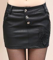 2014 New In Fashion Women PU Short Skirts Western Style All Match Elegant Single Breasted Female PU Mini Skirts Black Plus Size