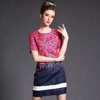 FREE SHIPPING Summer 2014 new Plus Size woman lattice stitching high end printing Floral Diamond  Slim Dress S-XXXXXL