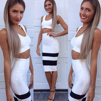 free shipping white and black two piece bandage dresses 2014 new arrival party evening dress wholesale dropshipping