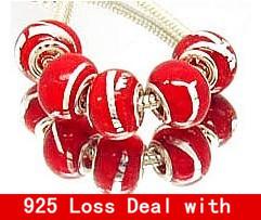 NO. 38 Glass 925 Stering silver Lampwork Big Hole Loose Beads fit European murano glass beads pandora bracelet Jewelry Charms(China (Mainland))