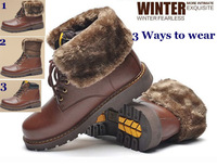 3 Ways Wear Mens Winter Snow Boots Thermal Warm Velvet Genuine Leather Shoes Cowhide 2014 NEW Ankle Martin Boots