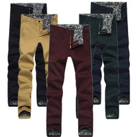 New 2014 Autumn and Winter Men Cotton 100% High Quality Casual Pants Outdoors Candy Color Sport  Pants Free Shipping