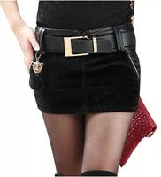 2014 New In Fashion Women Autumn Winter Short Skirts Korean Style All Match Elegant PU Patchwork Female Mini Skirts With Belt