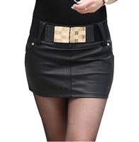2014 New In Fashion Women PU Short Skirts Korean Style All Match Elegant Concise Design Female PU Mini Skirts Black With Belt
