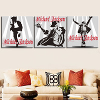 3 Panels Michael Jackson Printed Oil Canvas Painting Wall Art Picture Hangings On COTTON Canvas For Living Room Home Decoration