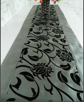 Dark Gray Table Runner Cloth Wedding Decor Flocked Damasks 70 x13 inch