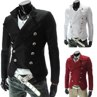 Hot fashion European style men's casual man Slim double-breasted suit jacket suit multicolor good quality Free Shipping