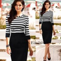 New 2014 Summer Fashion Women Elegant Dress Stripe Color Block Tunic Party Wear Work Bodycon Sheath Dress Vestidos b7 SV002777
