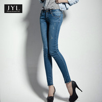 JYL jeans sexy denim skinny jeans woman,acid wash designer scratches stretch jeans for women 2014 Autumn women jeans pants