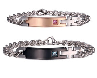 Custom Made Laser Engraving Words Bracelets His and Hers Matching Set Couple Titanium Bracelet Gift for Couple