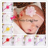 Newborn Baby Thin Elstic Headbands Baby Girls Chiffon Flower Headbands Photography Props Hair Accessories 30pcs/lot