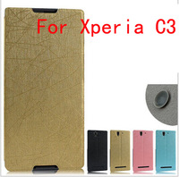 For Xperia C3 , New arrival Flip leather Case with Stand For Sony Xperia C3 100pcs/lot DHL free