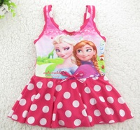 Wholesal Girl Swimwear Girl Swim Dress Polka Dot Frozen Elsa Anna Swimwear Swimsuit Kids Bathing Costume Children Clothes 5pcs