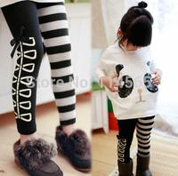 Retail ------! 2014 New Arrive. 1set/lot Girls Clothing Sets Outfits 2pcs/set(Panda Bat Wing Fighter Jumpers Coat+Striped Pants)