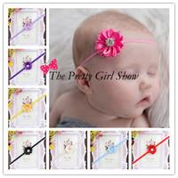 Newborn Baby Thin Elastic Headbands Mini Satin Ribbon Flower Headbands Crystal Baby Girls Hair Accessories 30pcs/lot