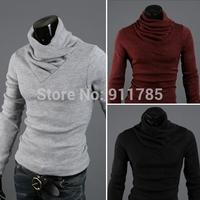 2014 Autumn Knitting Rabbit Plush high collar long sleeve Pullovers Knitwear Sweaters men slim fit Bottoming shirts,M-2XL,6510
