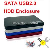 "Freeshipping 2.5"" USB 2.0 SATA HDD Enclosure Case Hard Drive  External Box Support 1TB Hard Disk"