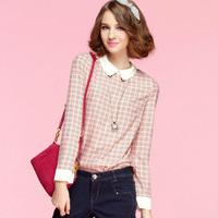 New 2014 Women Blouses Chiffon Shirt Plaid Blouse Printed Fashion Peter Pan Collar Basic Shirt Long-sleeve Blusas Femininas