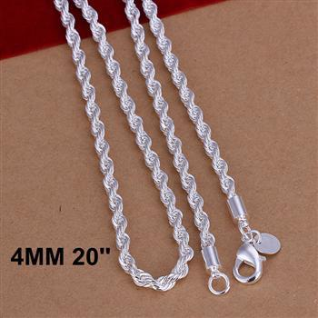 Cool 1pcs 4mm 16 18 20 22 24 inch 925 Sterling Silver Twisted Rope Link Chain