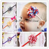 "Mini 2"" Chiffon Pearl Rhinestone Chevron Flower On a Thin Elastic Headbands Christmas Special Occasion 40pcs/lot"