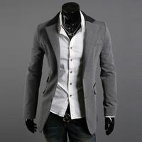Color block 2012 collar irregular pocket male slim buckle blazer 5977p90