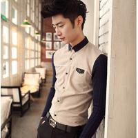 Men's casual knit stitching stylish British style long-sleeved shirt Slim all-new 2014 winter knit shirts Men shipping