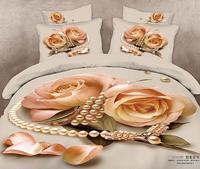 3D July  New !100% cotton luxury 3d bed sheet set bedding set /bedclothes duvet cover pillowcase flower queen size