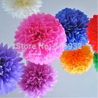 "Colorful Tissue Paper Flower Flowers Ball Tissue Paper Pom Poms Wedding Party Decoration 20cm 8"", 10 pieces/lot M4"