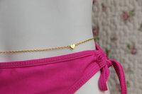 Gold Plated Simple Heart Pendant Waist Chain Beach Body Chain Belly Chain Bikini chain Girlfriend Gift Body Jewelry