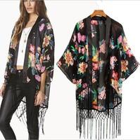 Free Shipping! 2014 Europe Style New Arrival Women's Floral Printed Kimono Coat Cardigan Fashion Chiffon Tassel Top Blouse