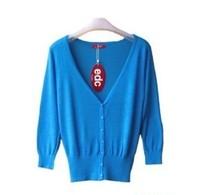 FREE SHIPPING, 2014 new fashion knit sweater v neck thin Cardigan Sweater air conditioning anti-UV shirt
