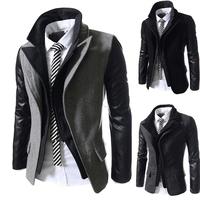 2014 male faux two piece front fly zipper woolen fashion slim all-match jacket