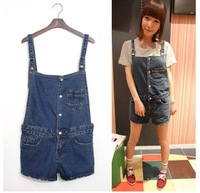 Denim bib pants shorts spaghetti strap jumpsuit shorts female for dx h101-8006 women's jeans size s-xl