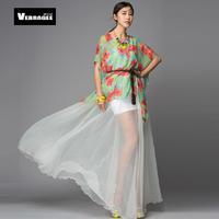 Fashion Floral Print Patchwork Beautiful Big Pendulum Bohemian Chiffon Ultralong Plus Size Beach Dress
