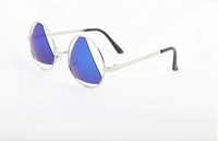 2014 wholesale  NEW arrive  25 pcs/lot Fashion  Men Women  MIRRORED SUNGLASSES  with triangle lens   UV400