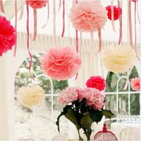 "Colorful Tissue Paper Flower Flowers Ball Tissue Paper Pom Poms Wedding Party Decoration 25cm 10"", 10 pieces/lot M4"