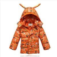 2014 Children clothing down coat male female child medium-long down coat children winter outerwear