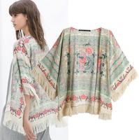 2014 Europe Style New Arrival Chiffon Kimono Coat Cardigan Fashion Women's Floral Printed Tassel Top Blouse Free Shipping
