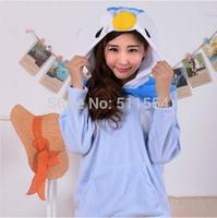 Anime Animal Women Men Cute  Penguin  Hooded Jacket Hoodies with Ears Polar Fleece Winter Hoody Plus Size Outwear
