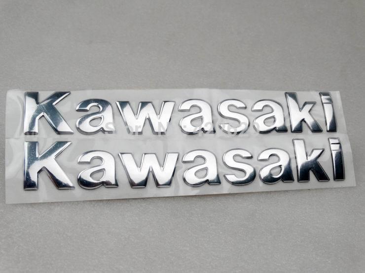 Quality Chrome 3D Tank/Fairing Emblem Badge Decal Sticker For Kawasaki KX Vulcan KLR Versys Voyager Ninja ZX-6R 10R 12R 14R(China (Mainland))