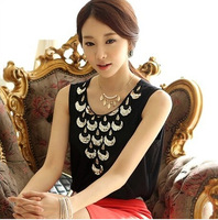 New 2014 Summer Fashion Women Clothing sleeveless  Tank top Camisole Fold sequins chiffon  short sleeve shirt B222