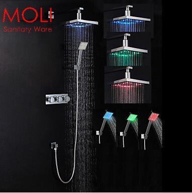 Led shower set bath rain shower faucet mixer with sensor light rain shower head luxury shower(China (Mainland))