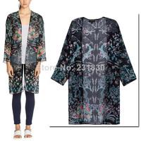 New 2014 Summer Women's Ethnic Birds & Floral Print Long Sleeve Loose Kimono Cardigan Long Jacket Blouse Shirts Sunscreen Tops